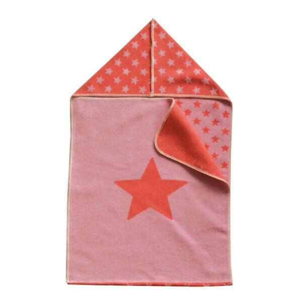 Puckdecke mit Kapuze Stern rosa 45x76 cm, David Fussenegger