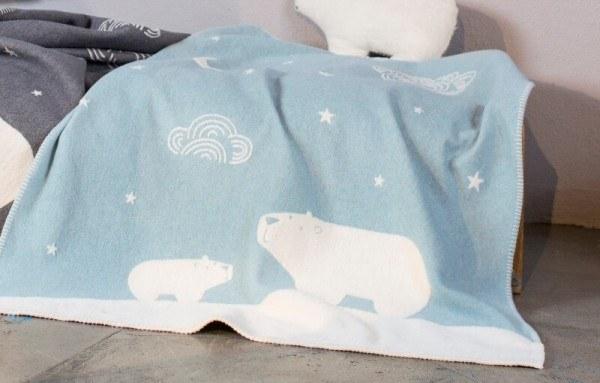 Kinderdecke FINN Eisbären blau 100x130 cm, David Fussenegger