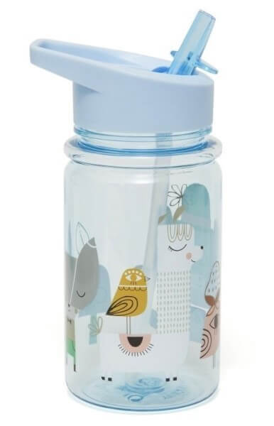 Trinkflasche Strohhalm Lama & Freunde blau, Petite Monkey