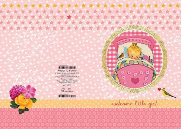 Glitzer Doppelkarte Baby Girl Geburt, Roger la Borde