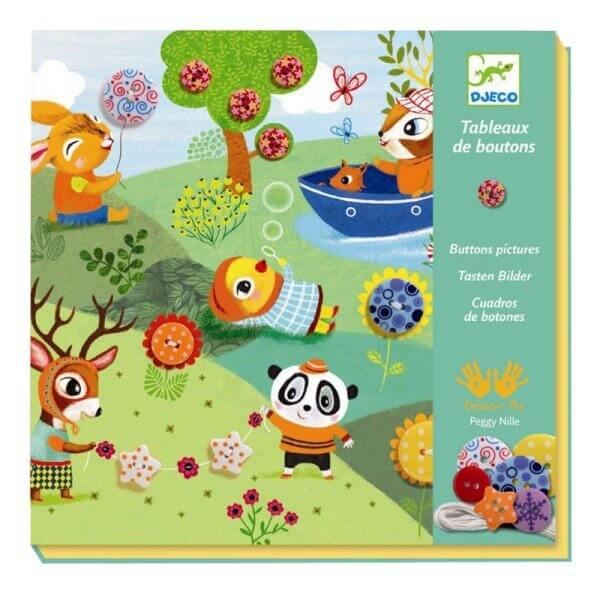 Kreativset Knopfbilder Fädelkarten 4 Jahreszeiten, Djeco