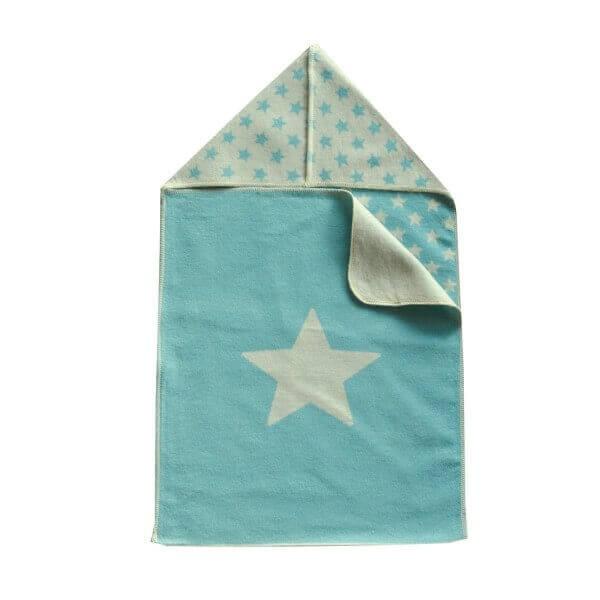 Puckdecke mit Kapuze Stern blau 45x76 cm, David Fussenegger