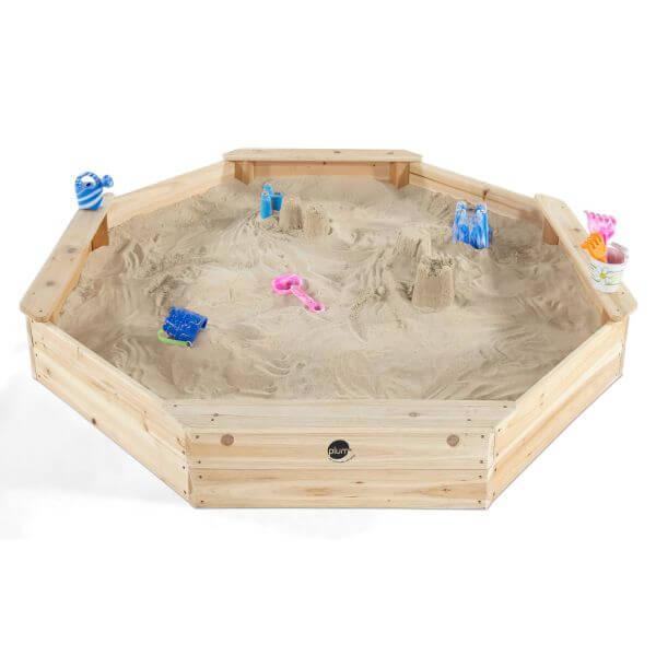 Plum gigantischer Holz-Sandkasten mit Sitzbänken und Schutzabdeckung