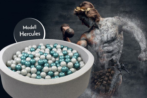 Meinbällebad rundes Bällebad Hercules Grau mit 300 Bällen