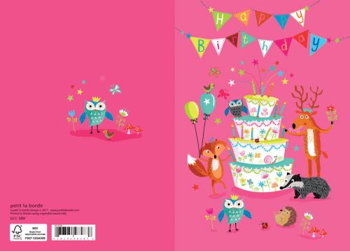 Roger la Borde Glitzer Doppelkarte Geburtstag Waldtiere pink