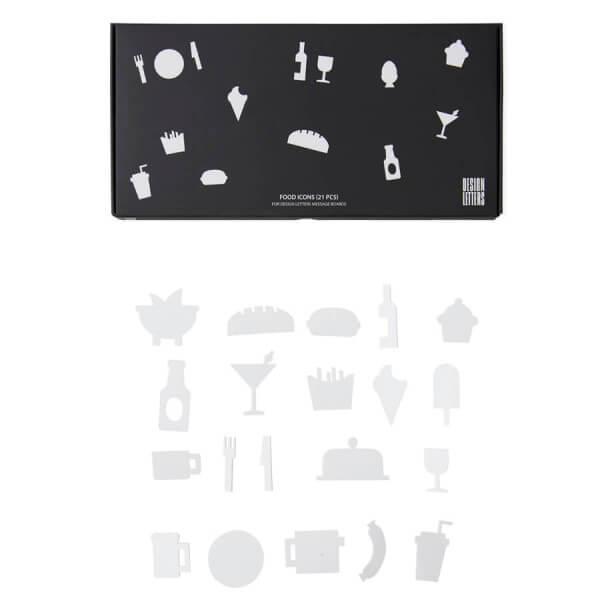 Design Letters Food-Symbole für Message Board, Weiß
