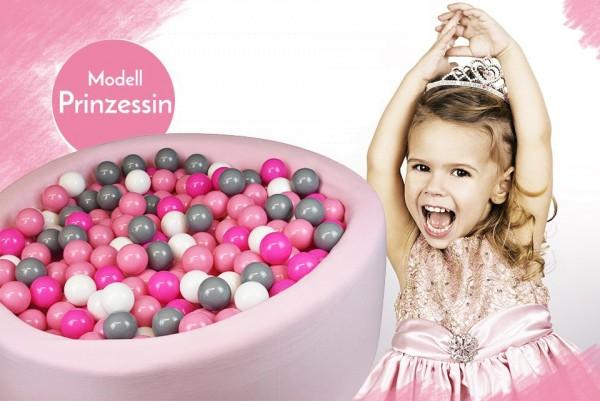 Meinbällebad rundes Bällebad Prinzessin Rosa mit 300 Bällen