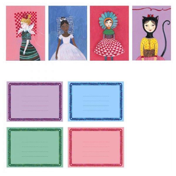 8 Mädchen Einladungskarten mit Umschlägen, Djeco