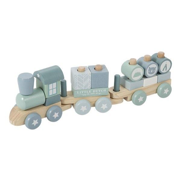 Little Dutch Holzzug / Holzeisenbahn mit Steckformen Adventure Blue