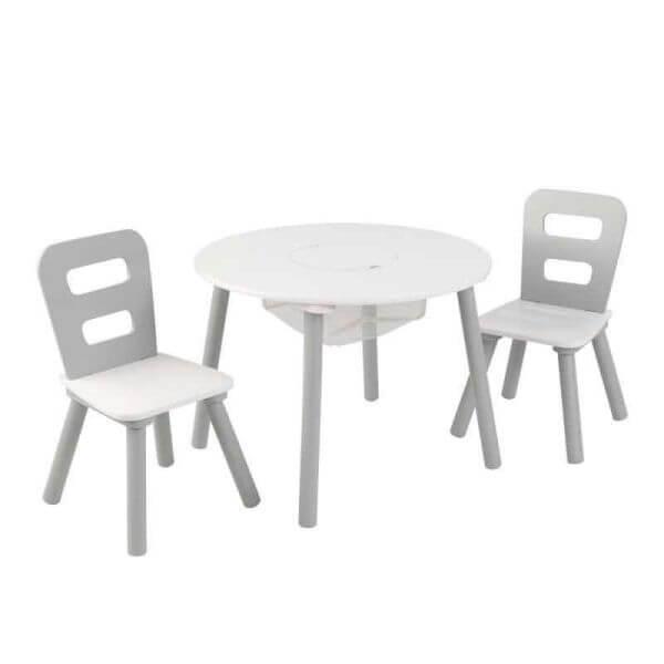 KidKraft Runder Tisch mit Aufbewahrungsfach und 2 Stühlen Grau/Weiß