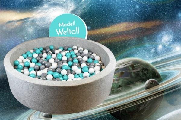 Meinbällebad rundes Bällebad Weltall Grau mit 300 Bällen