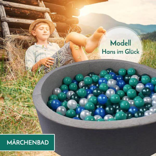 Meinbällebad rundes Bällebad Hans im Glück Hellgrau mit 300 Bällen