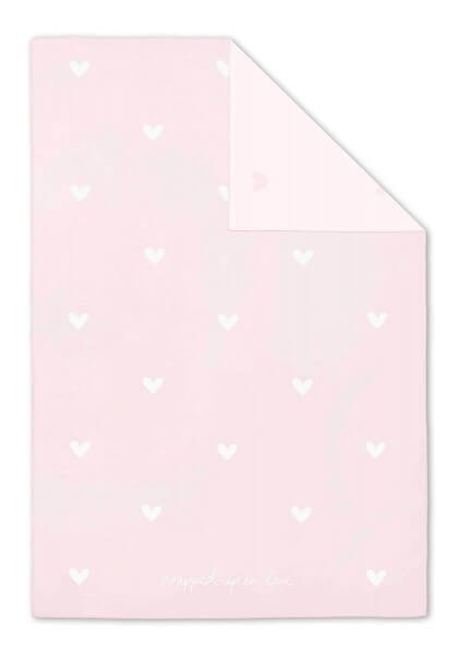 "Katie Loxton Babydecke mit Herzmuster ""Wrapped Up in Love"" ROSA 100 x 75 cm"
