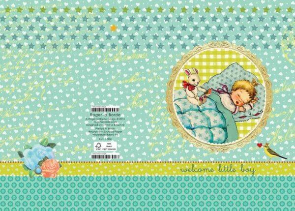 Roger la Borde Glitzer Doppelkarte Baby Boy Geburt
