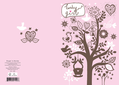 Roger la Borde Glitzer Doppelkarte Geburt Babybaum rosa