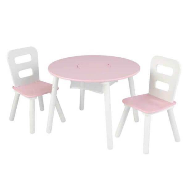 KidKraft Runder Tisch mit Aufbewahrungsfach und 2 Stühlen Rosa/Weiß