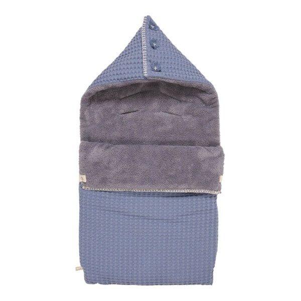 Koeka Fußsack Waffel/Plüsch Oslo stormy blue/silver grey