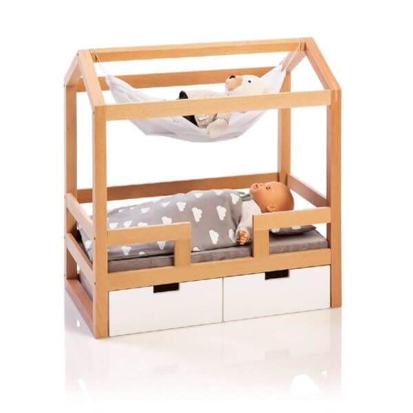 MUSTERKIND® Puppen-Hausbett Barlia natur/weiß