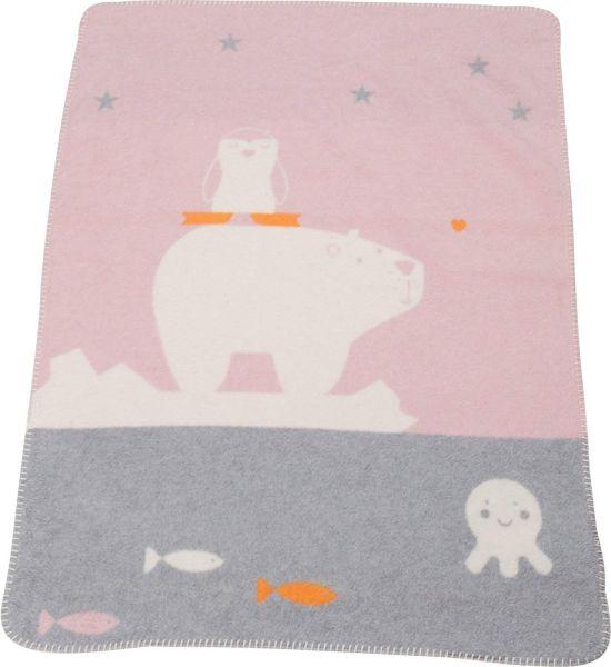 David Fussenegger Babydecke Mila Eisbär Pinguin rosa 75x100 cm