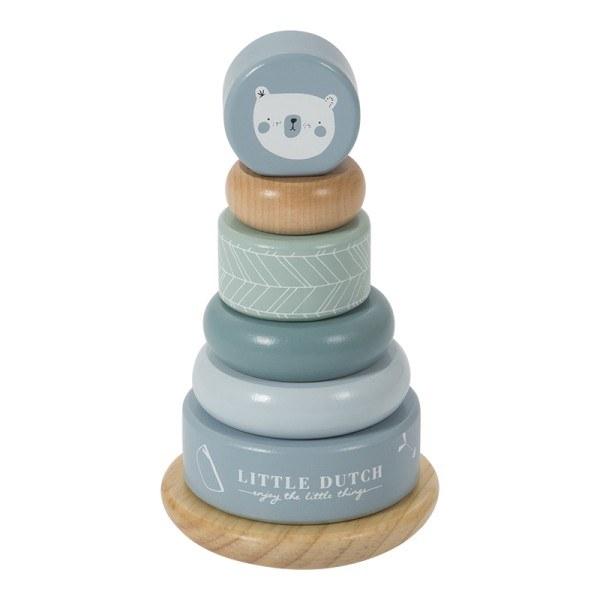Little Dutch Ring-Stapelturm aus Holz Adventure Blue