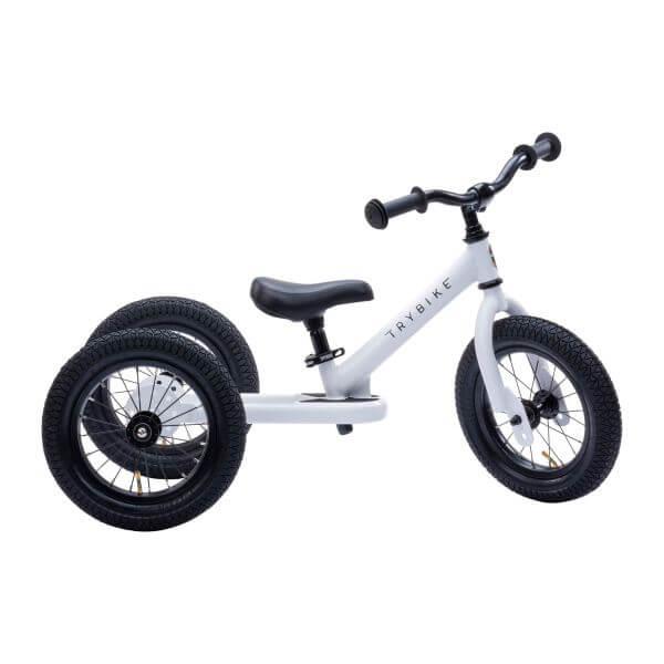 Trybike Laufrad Steel 2 in 1 Weiß/Schwarz