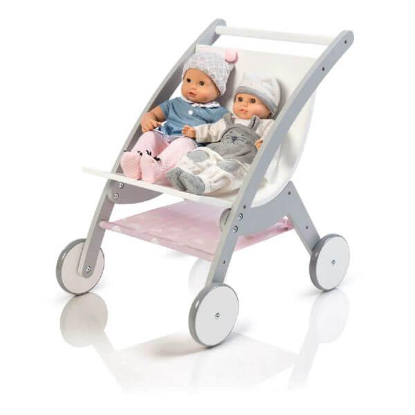 MUSTERKIND® Puppen-Zwillingswagen Barlia grau/weiß_MK509