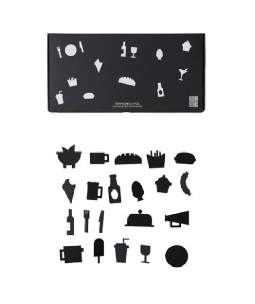Design Letters Food-Symbole für Message Board Schwarz