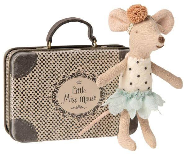 Maileg Little Miss Mouse Kleine Schwester Maus im Koffer