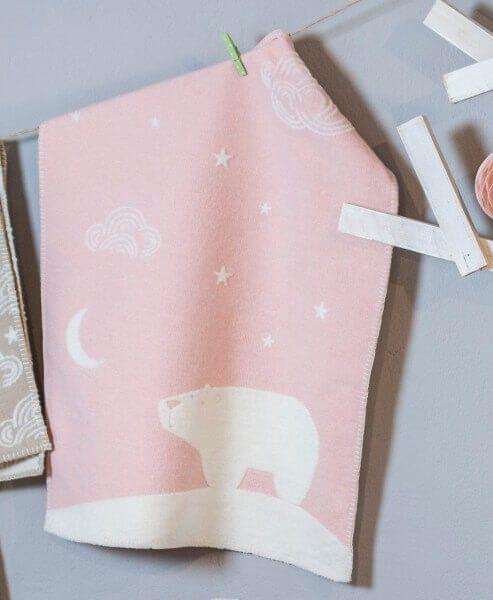 Babydecke FINN Eisbär rosa 65x90 cm, David Fussenegger