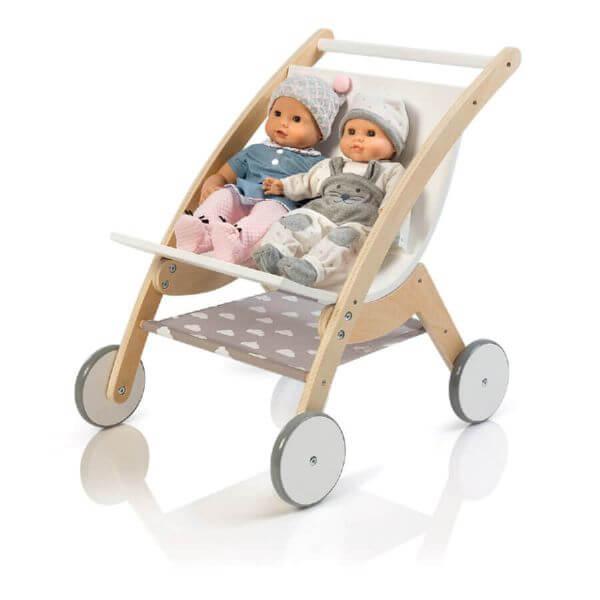 MUSTERKIND® Puppen-Zwillingswagen Barlia natur/weiß_MK508